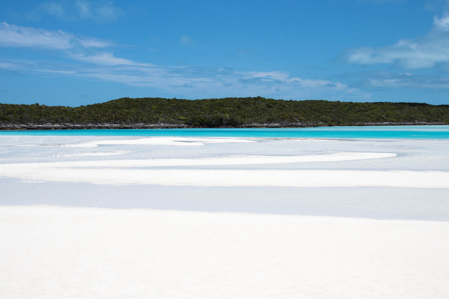 Exuma Cays Sand Bar Bahamas view of stunning white sand at Staniel Cay Exuma.