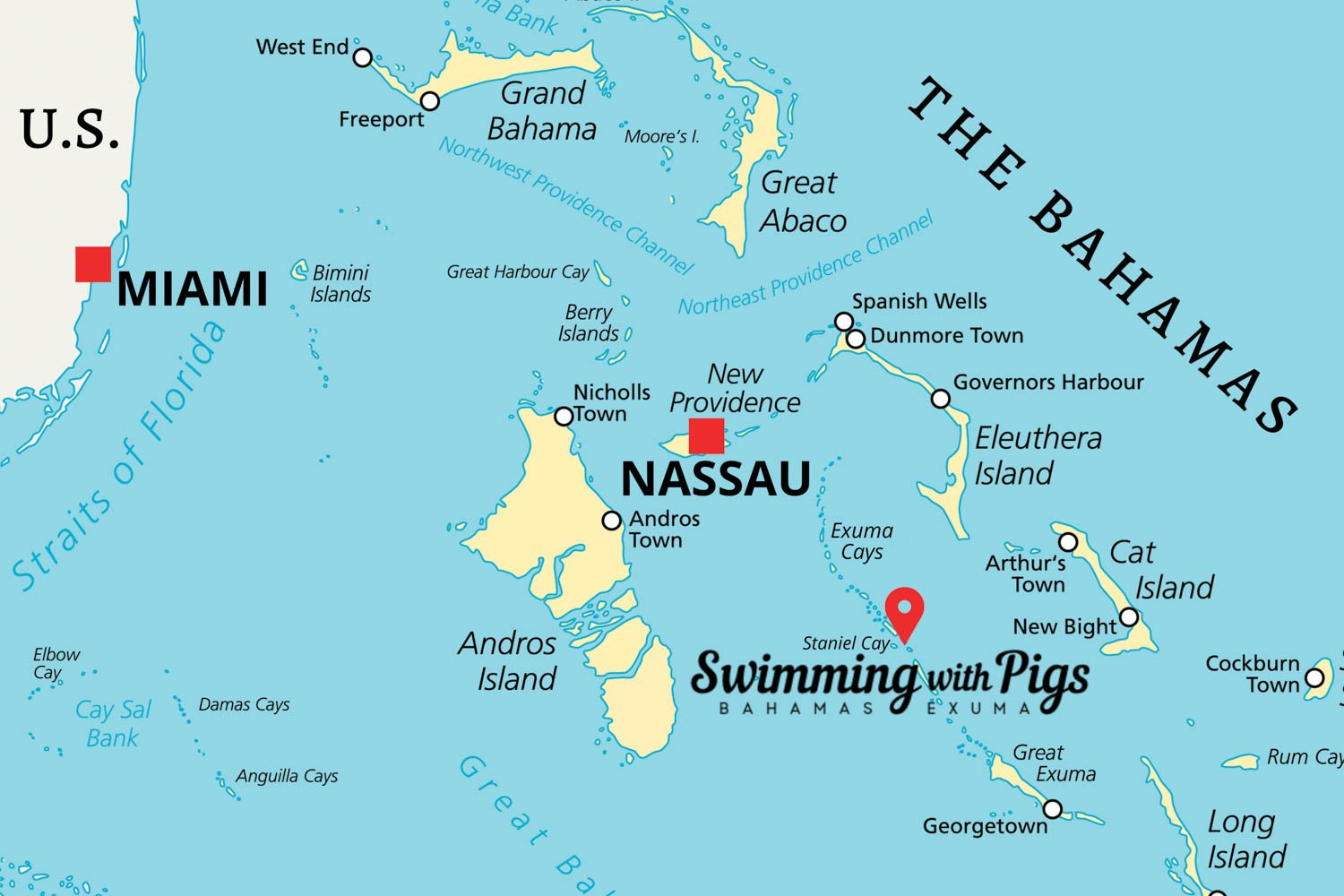 Pig Beach map shows the location of the Swimming with Pigs in Exuma. The Island with Pigs is located in the Exuma Cays next to Staniel Cay in the Bahamas.