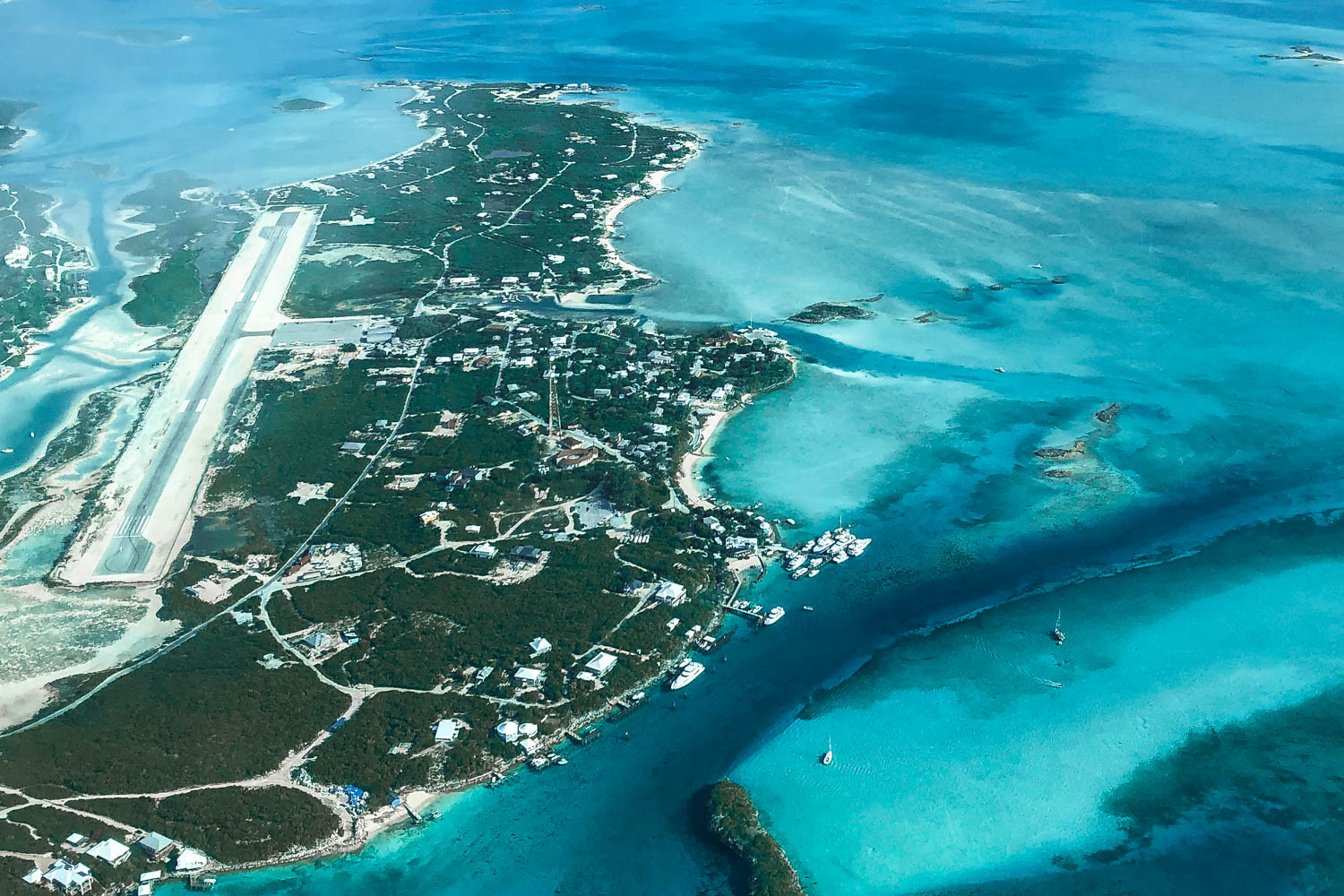Staniel Cay Bahamas aerial photo of the island including the Staniel Cay airport and Staniel Cay Yacht Club