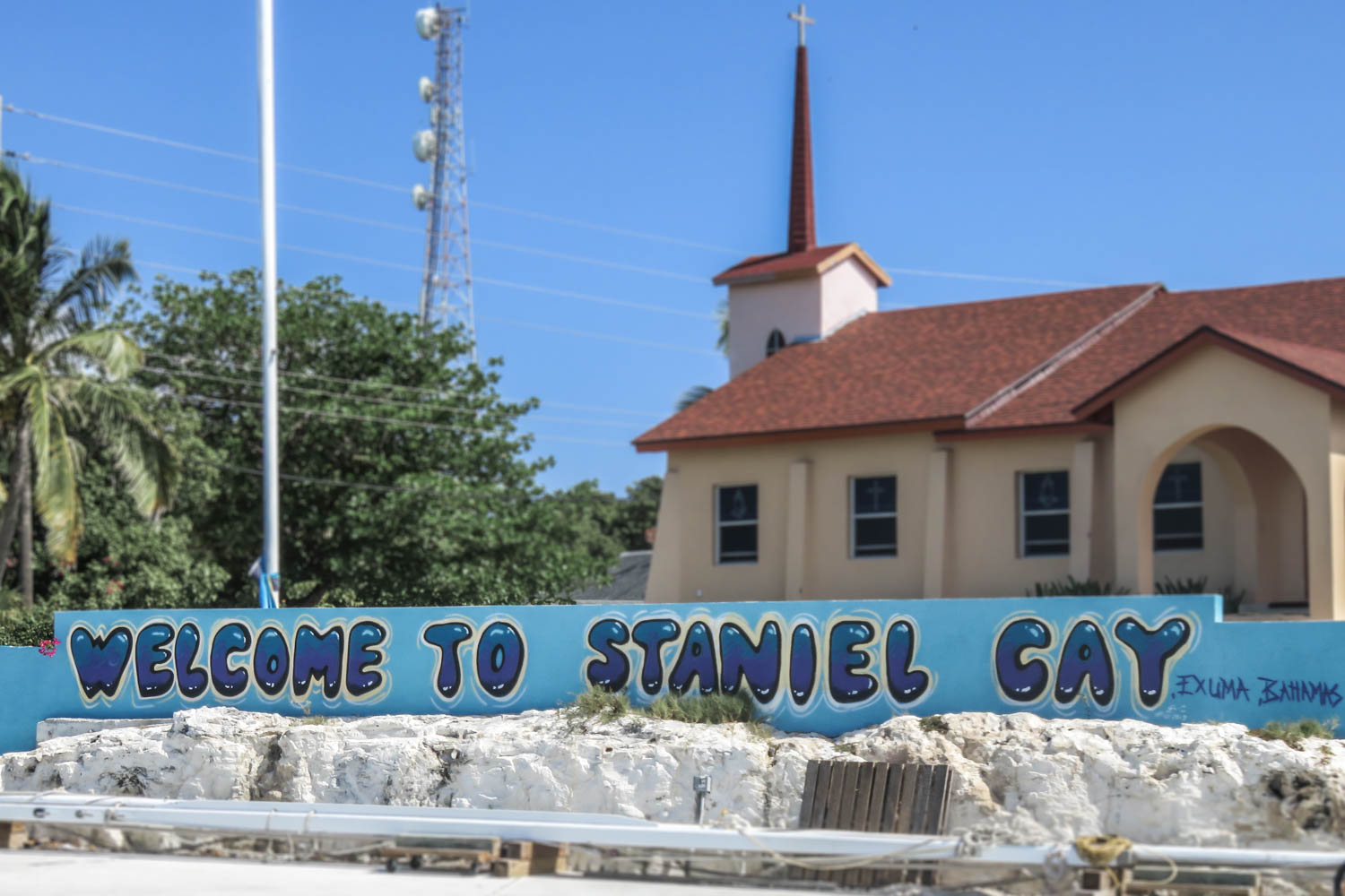 Staniel Cay Welcome sign at the Government Dock on Staniel Cay island in the Exuma Bahamas.