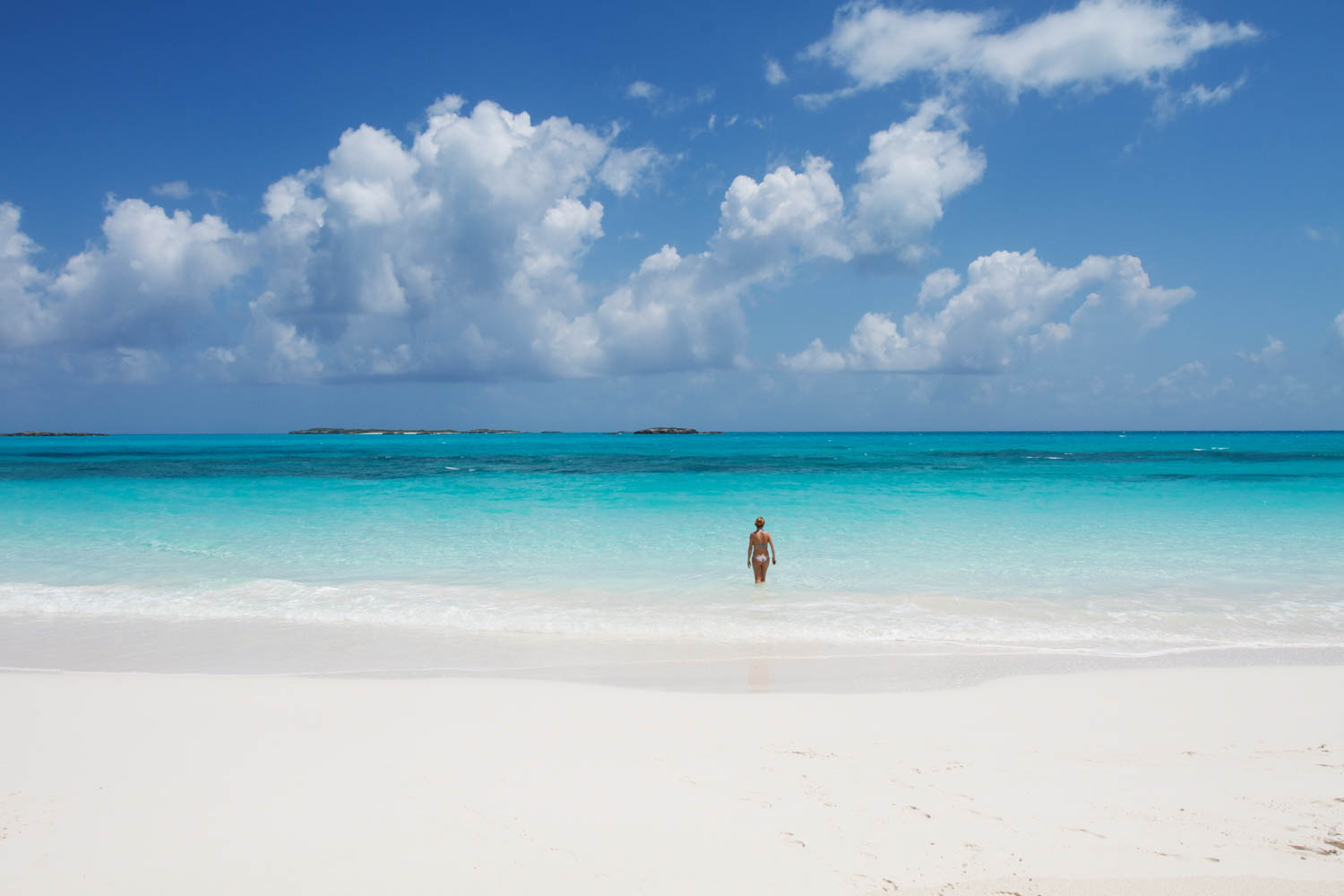 White sand beach in the Exuma Cays of the Bahamas. Exuma tours from Nassau to Pig Island available every day.